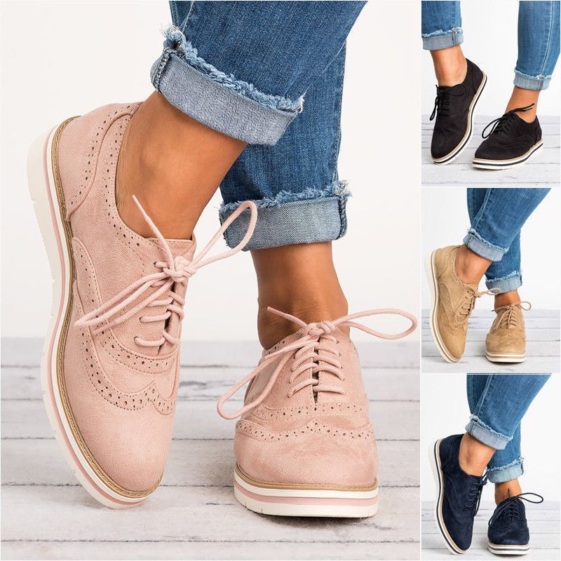 WOMENS FLAT SHOES SUEDE LACE UP LADIES SMART OFFICE VINTAGE BROGUE TRAINERS SIZE