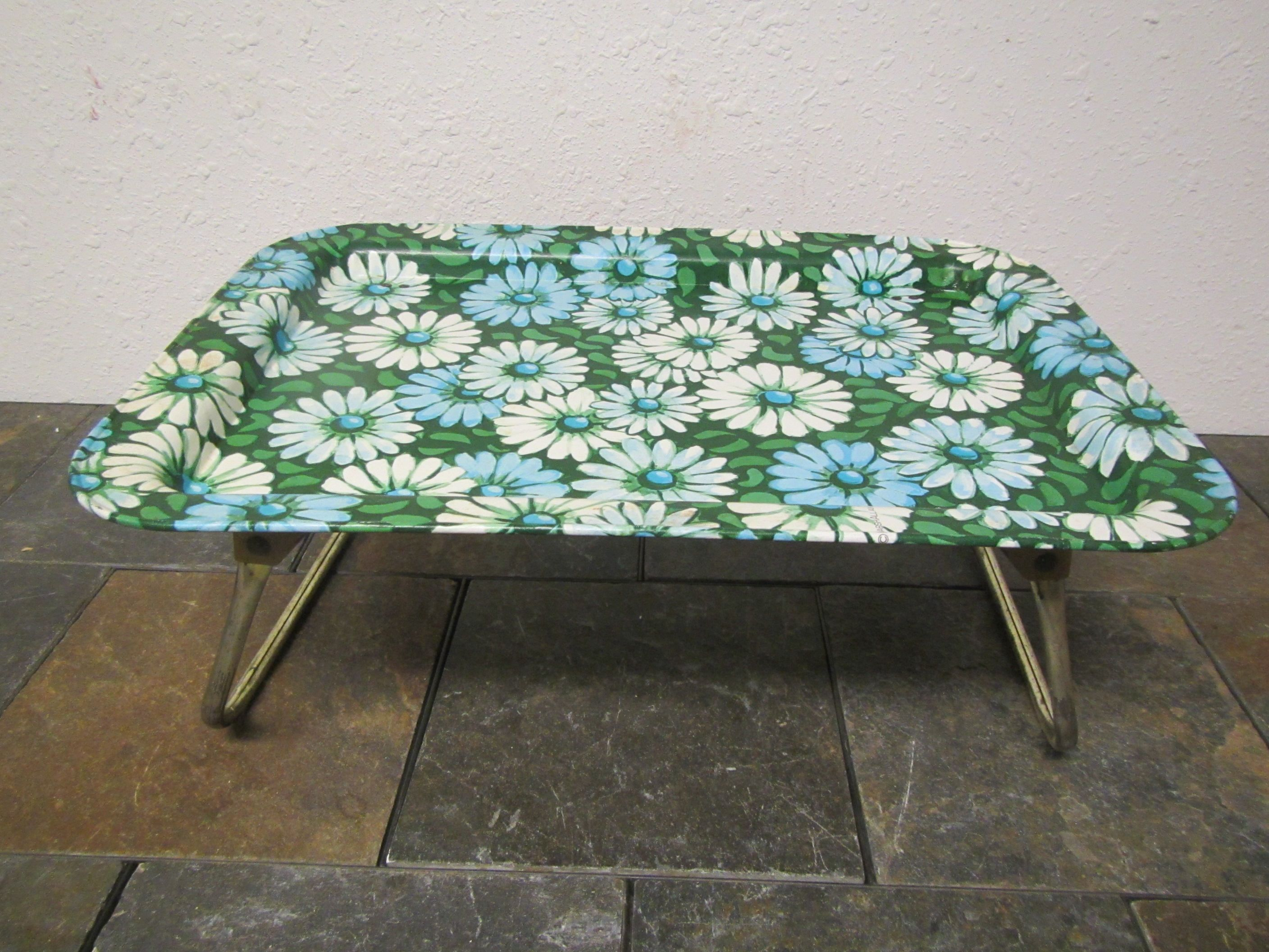 Metal Tv Lap Tray With Folding Legs Floral Design Green Blue And White Flower Pattern Breakfast In Bed Tray By Mau Bed Tray Lap Tray Breakfast In Bed