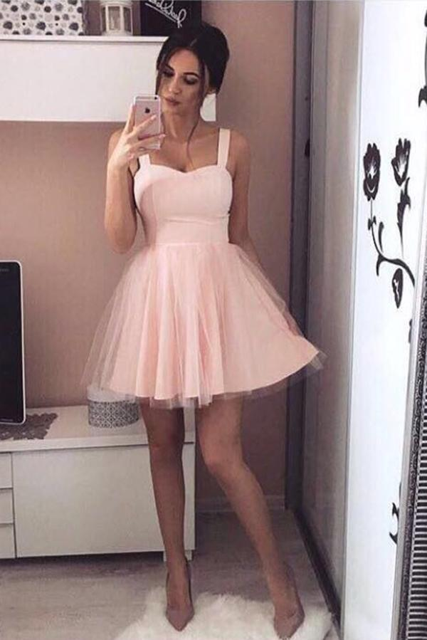 Pink Sweetheart Straps Sleeveless Homecoming Dress 1d29c6272
