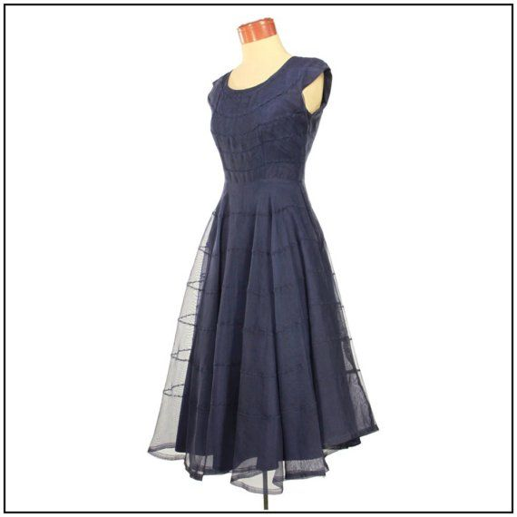 Vintage Late 1940s Party Dress. Navy Blue Sheer Overlay. (Medium)