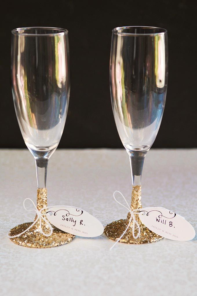 Champagne Glass Favors And Place Cards In One Recipe Champagne Glass Favor Wedding Champagne Glasses Rustic Wedding Favors