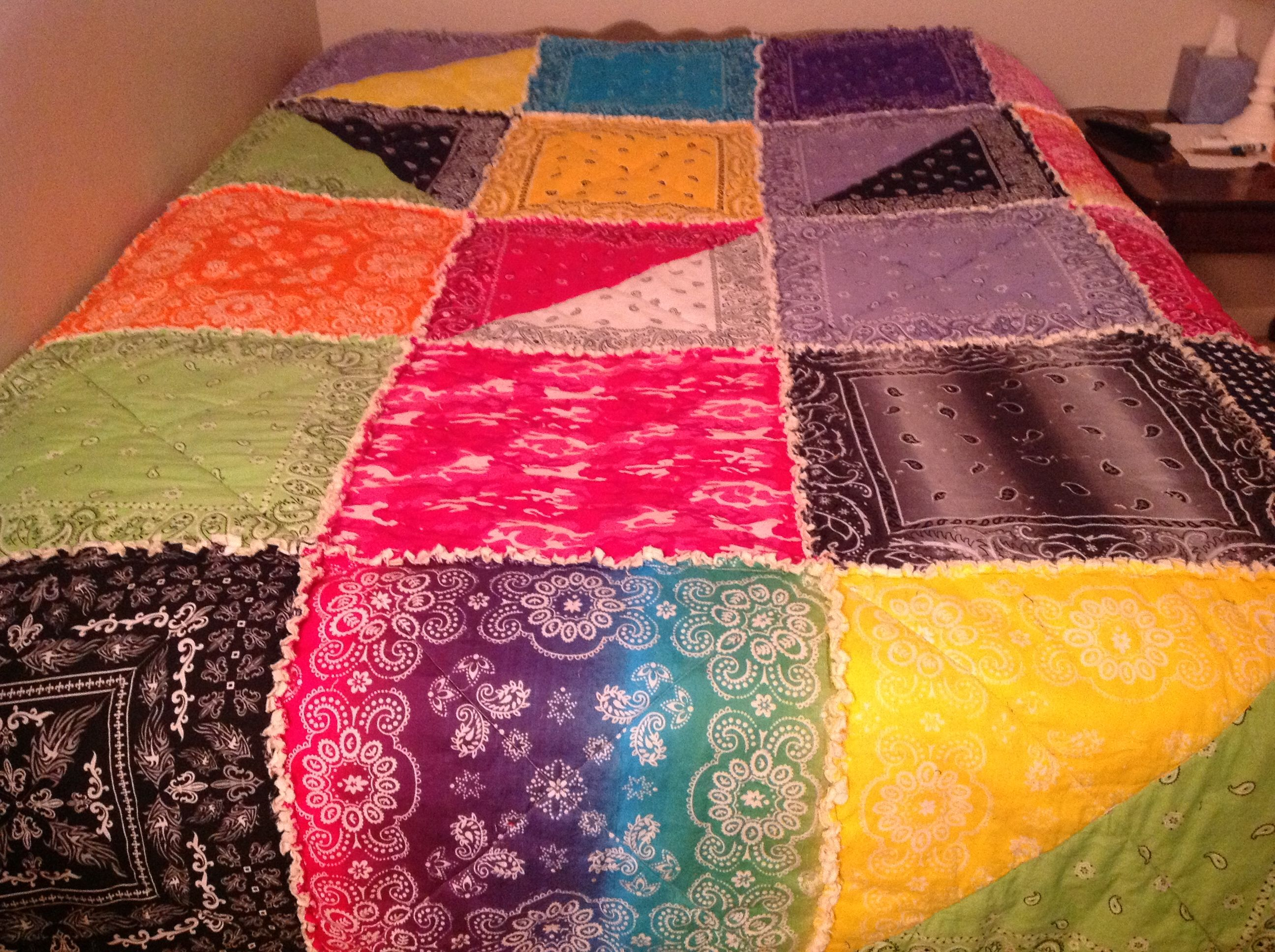 My first attempt at a bandana rag quilt. So easy!