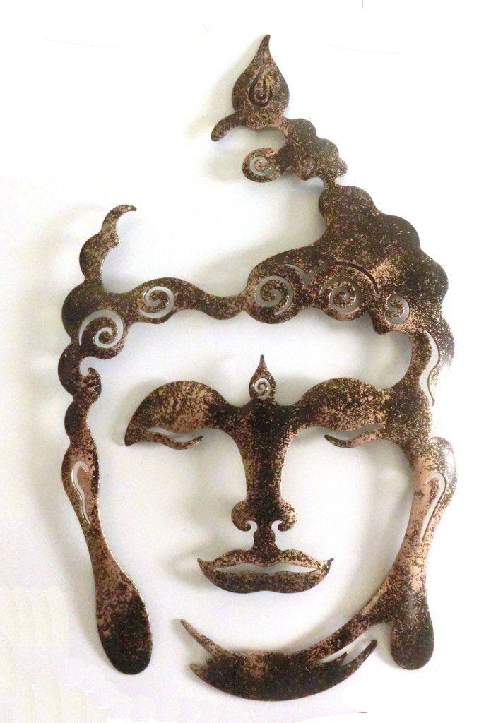 Wanddekoration Aussen buddha gold auf schwarz pulverbeschichtetes metall wanddekoration