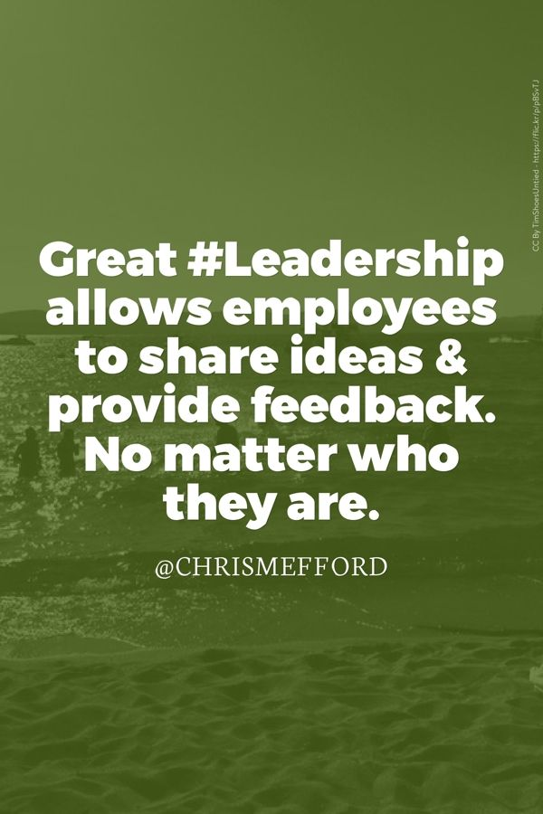 great leadership allows employees to share ideas provide feedback no matter who they are