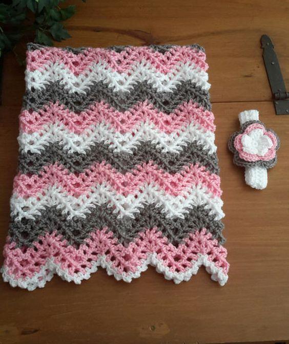 baby girl, chevron, ripple, baby, crochet blanket, afghan crochet ...
