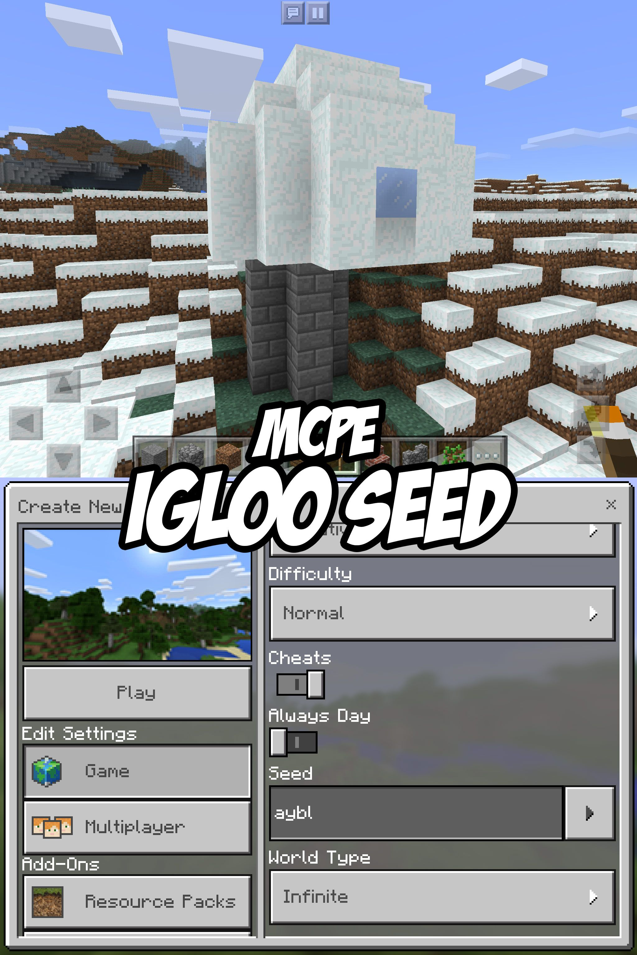 Check out this Igloo Seed for Minecraft Pocket Edition  The igloo is