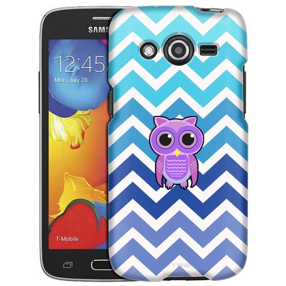 Samsung Galaxy Avant Chevron Teal Blue Owl White Slim Case