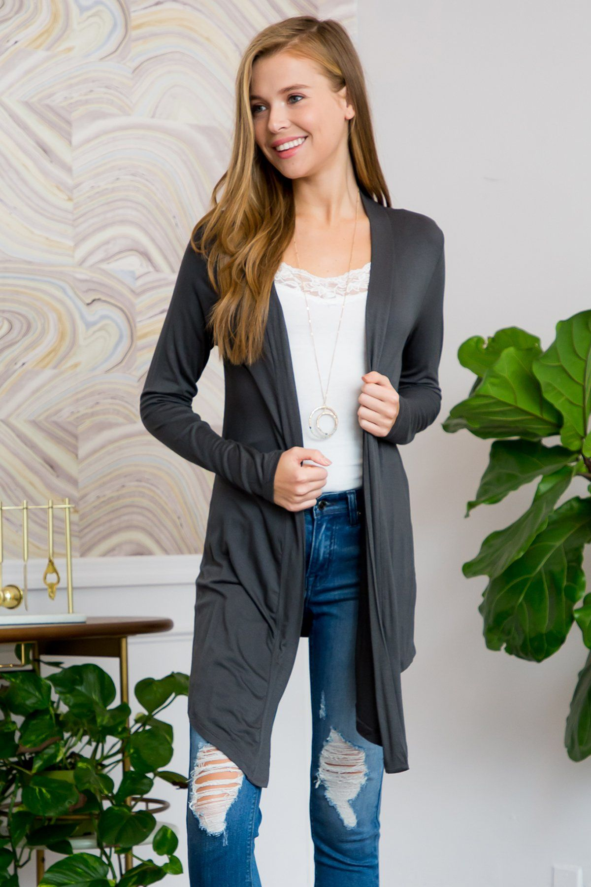 Drapey Open Front Cardigan - Charcoal / 3X