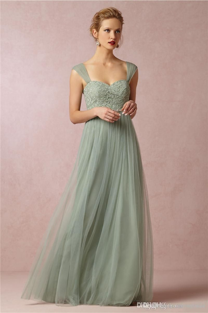 8c45628ef4f2 Sage Green Princess Long Bridesmaid Dresses A-line Sweetheart Neckline Cap  Sleeves Tulle with Lace Floor Length Prom Dresses BO8554