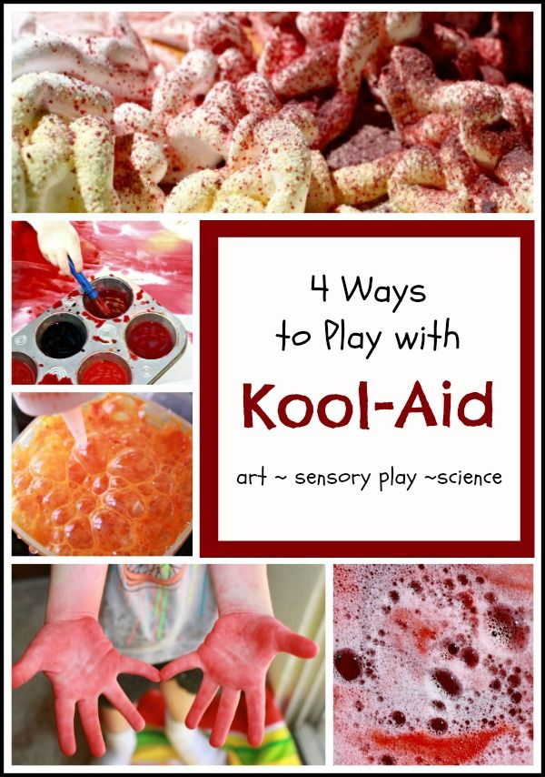 We don't like to drink Kool Aid, but it is so much fun for play!  Here are four ways to use Kool Aid in play including art, science and sensory play.  This post also includes links to the benefits of messy play and laundry tips to keep those clothes stain free after Kool Aid play.  The next time you host a play date, why not give it a Kool Aid theme?