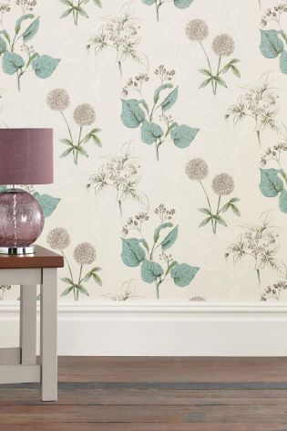 Buy teal botanical wallpaper from the next uk online shop