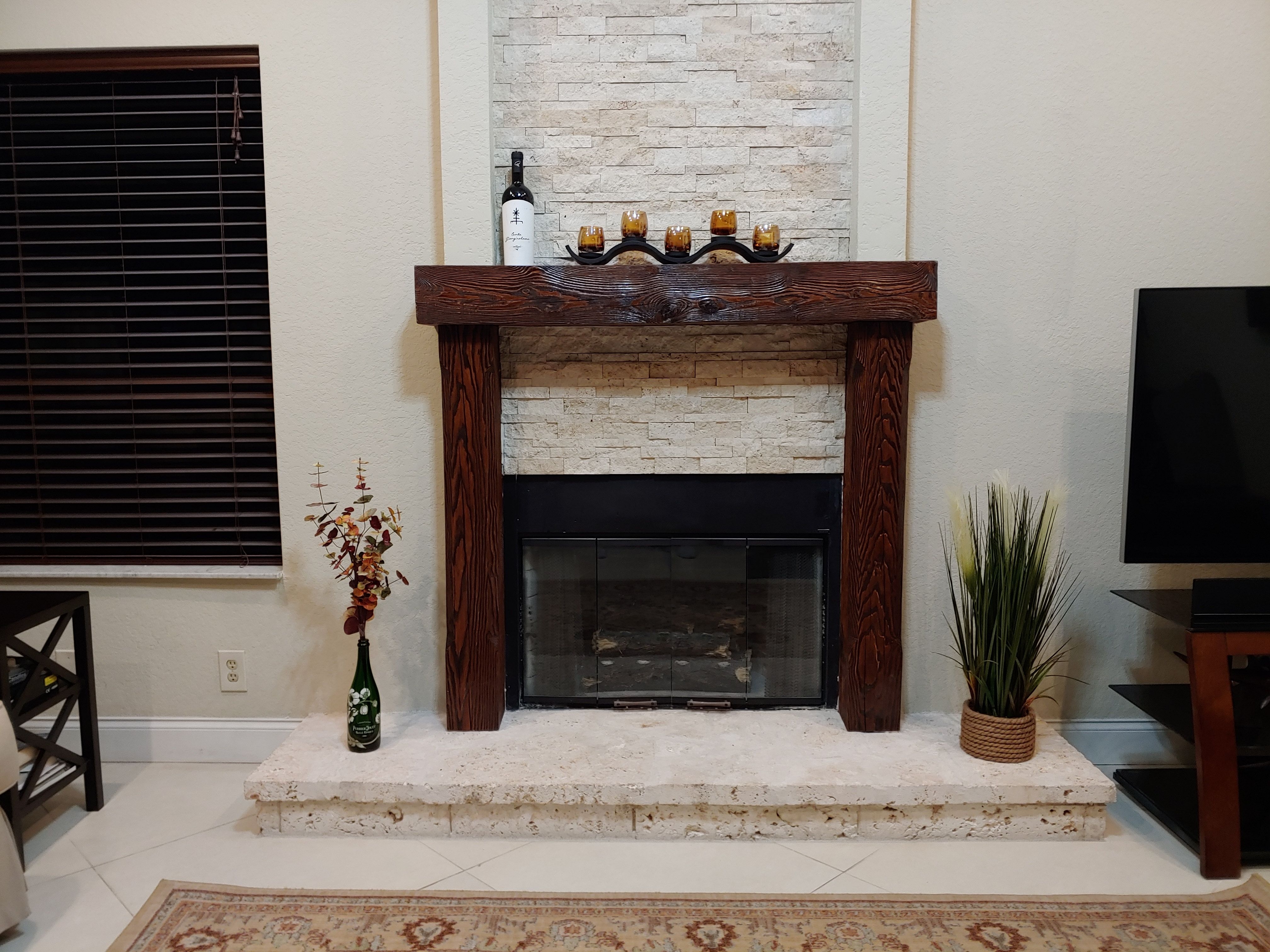 Rustic Full 6 X 8 Wood Beam Fireplace Mantel With Legs Wood Beams Fireplace Mantels Fireplace