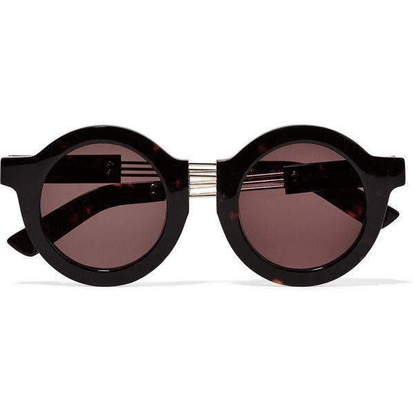 House of Holland On the Wire round-frame silver-tone and acetate ...