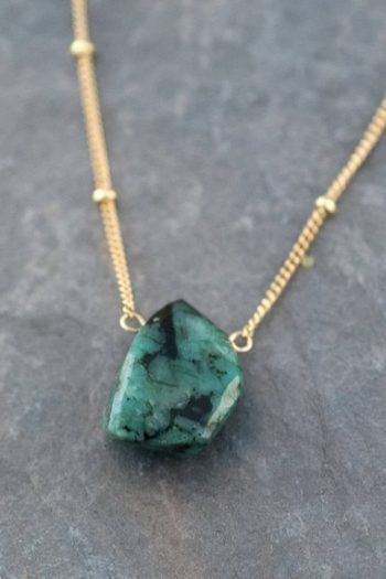 Photo of For Sale: Natural Emerald Necklace Raw Stone Necklace Gold…