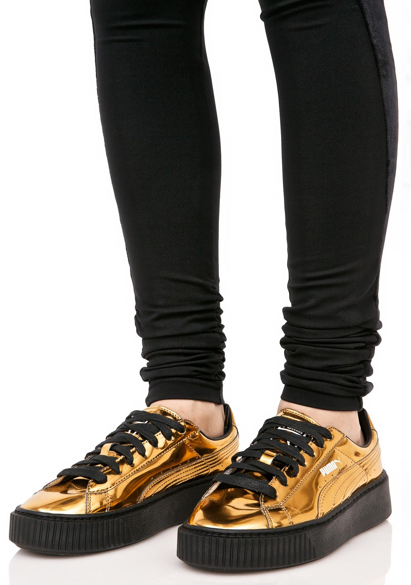 Gold Metallic Creeper Sneakers | Zapatillas y Cool