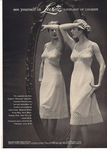 1953 Holeproof Women's LUXITE Fleurette Ethereal SLIP vintage LINGERIE photo Ad