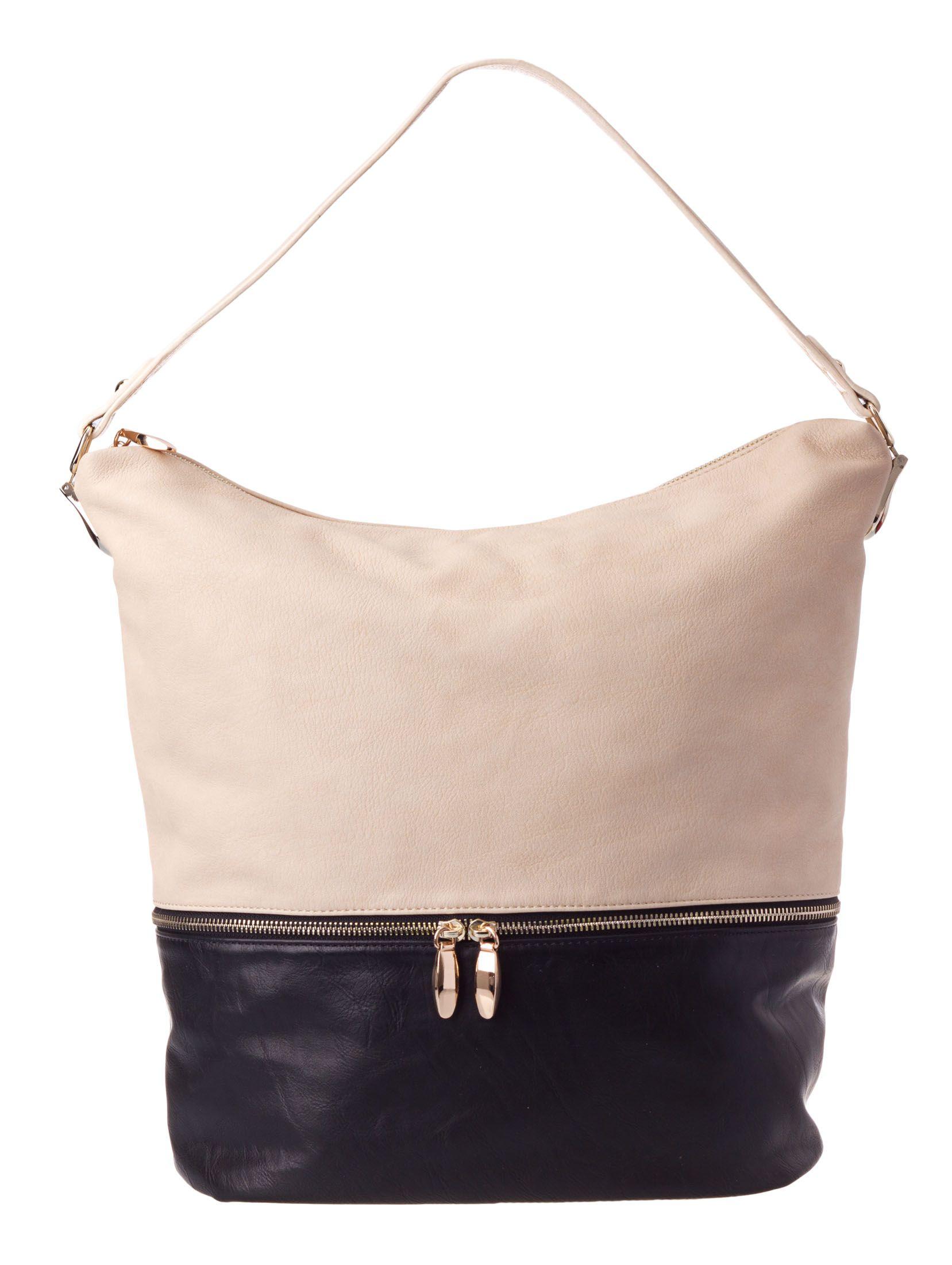 aba733df7d Colette by Colette Hayman - Metal Tab Zip Base Bucket Bag (Black Ivory)