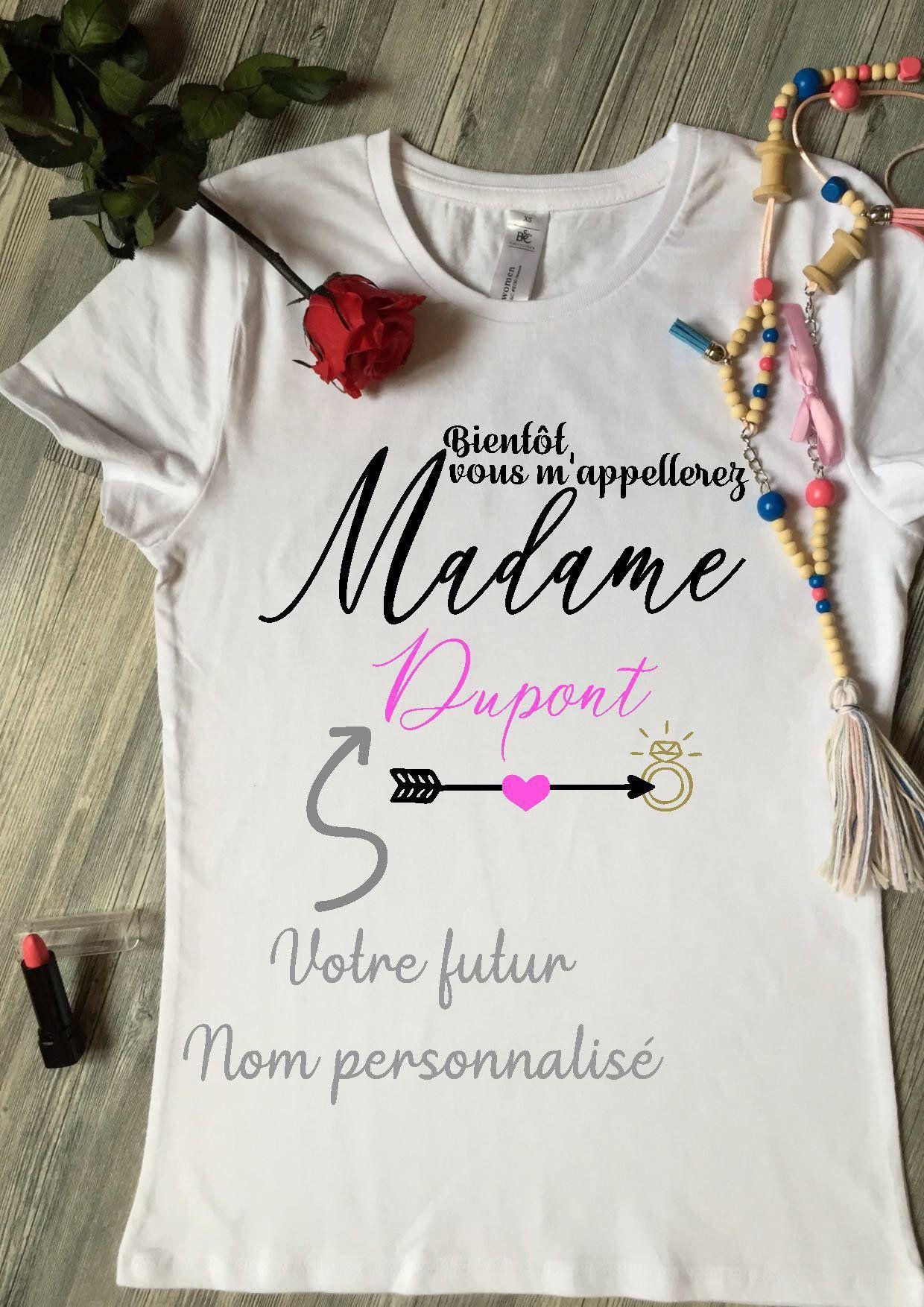 Cadeau T-Shirt Femme Mariage EVJF Appelez-Moi Madame