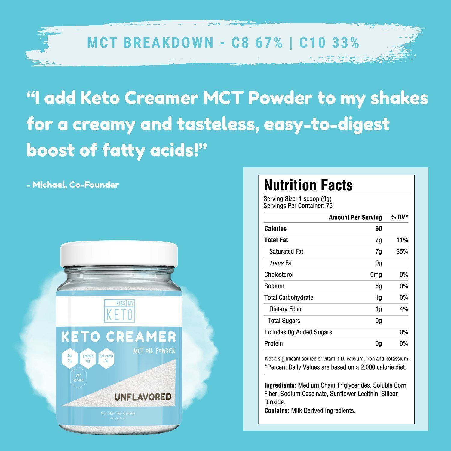 Keto creamer mct oil powder unflavored 75 servings