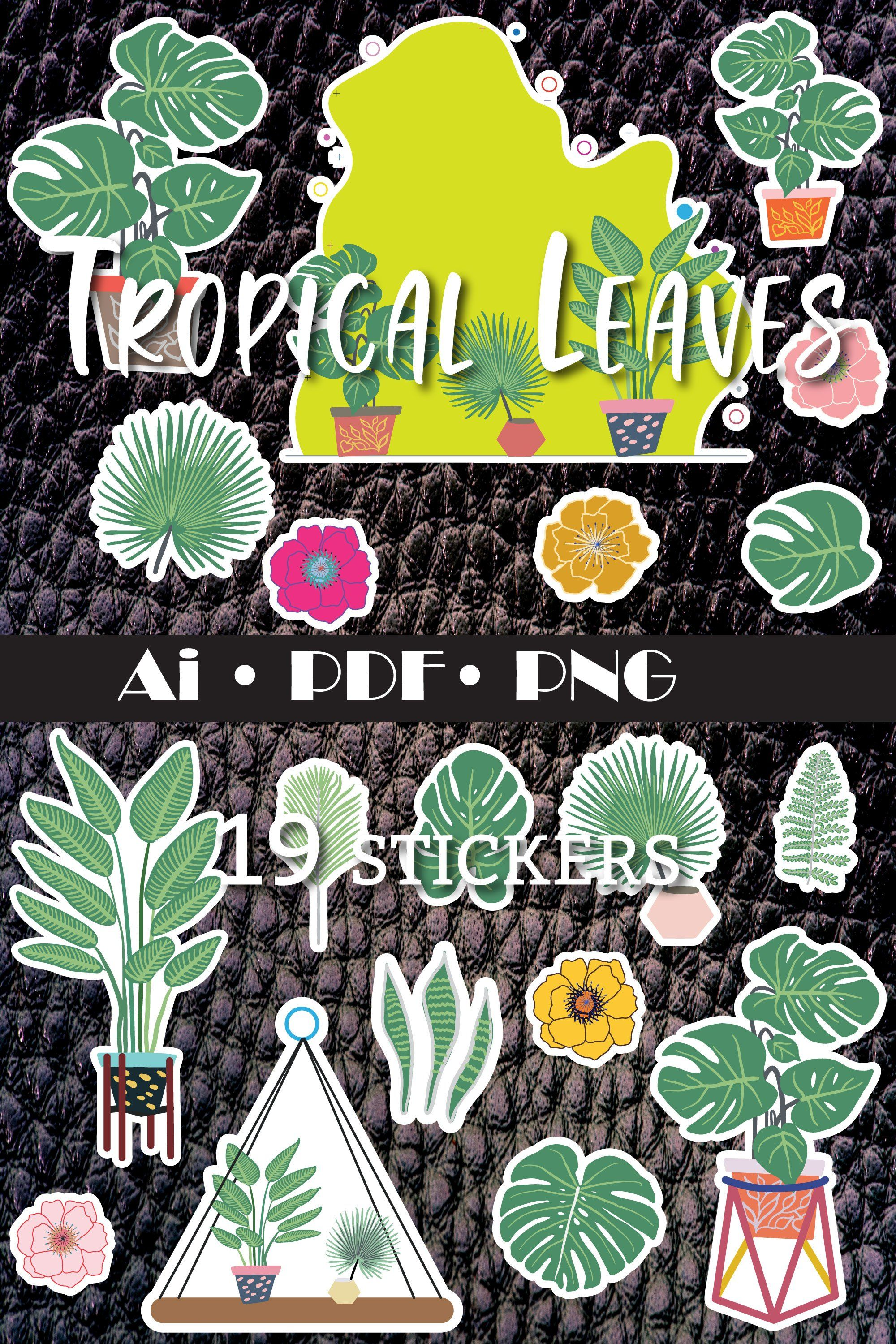 Plant Stickers Tropical 19 Stickers 880727 Illustrations Design Bundles In 2020 Alphabet Illustration Graphic Illustration Sticker Art Tropical leaves transparent images (51). pinterest