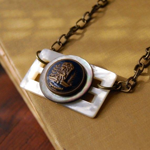 Vintage Button Buckle Necklace