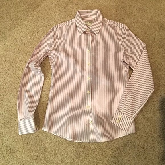 Banana Republic Non-Iron Fitted Button Down Gently loved, maroon and white striped Banana Republic Non-iron fitted shirt. No trades, best offers usually accepted. Banana Republic Tops Button Down Shirts