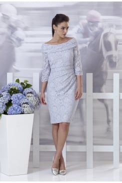 Grey Knee Length Lace Dress