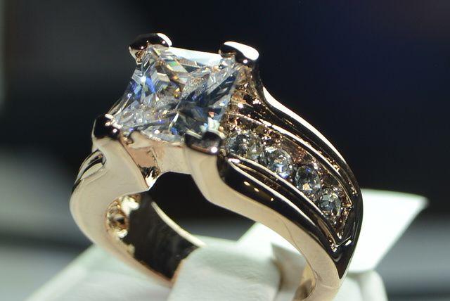 Rose Gold IP Princess Engagement Ring Size 5,6,7,8,9,10. Starting at $1