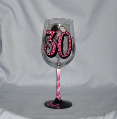 Hand Painted 30th Birthday Wine Glass With Balloons And Career Symbols