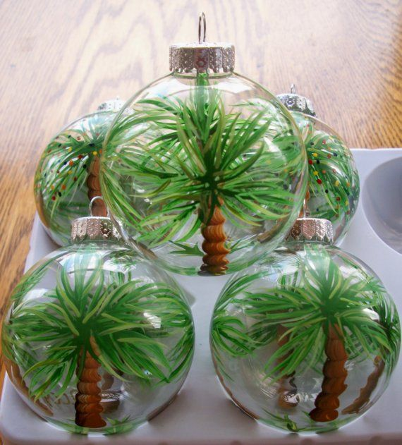 Palm tree tropical hand painted Christmas ball
