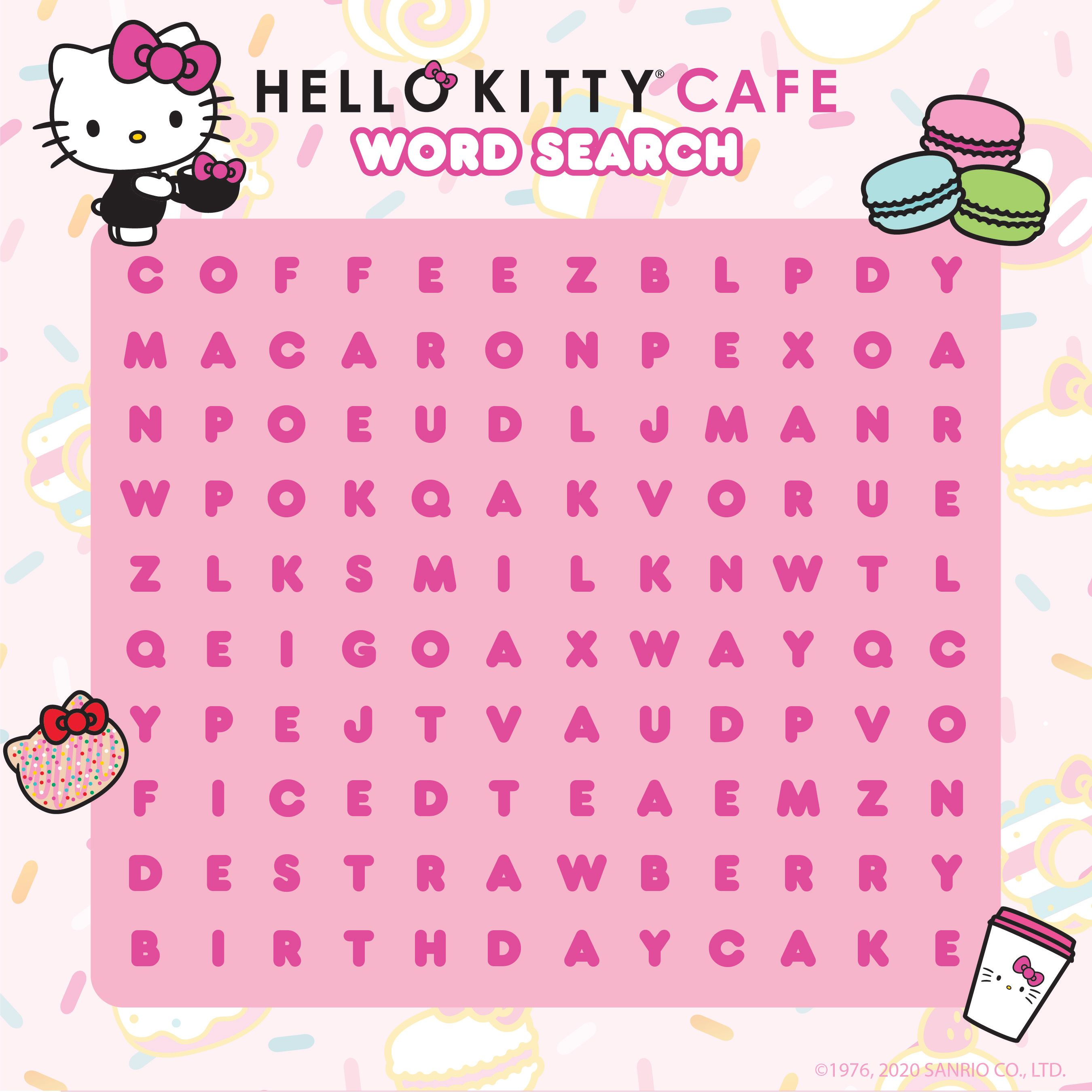 Hello Kitty Cafe Word Search Hello Kitty Kitty Cafe Hello Kitty Coloring