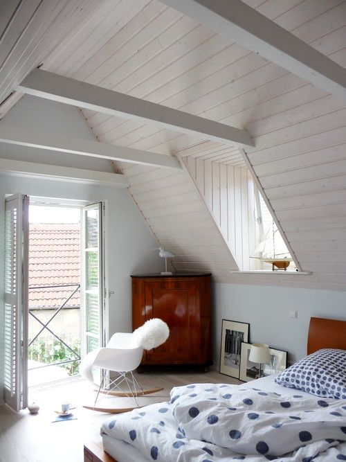 bedroom   white   wood   attic   cabinet Ideabook #6 #White wood - wohnideen unterm dach