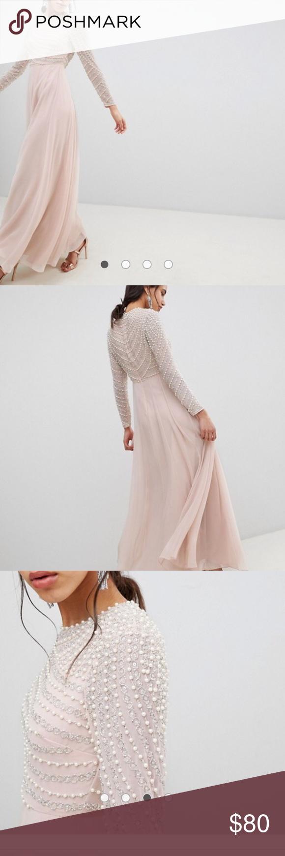 Asos pearl embellished long sleeve maxi dress my posh picks