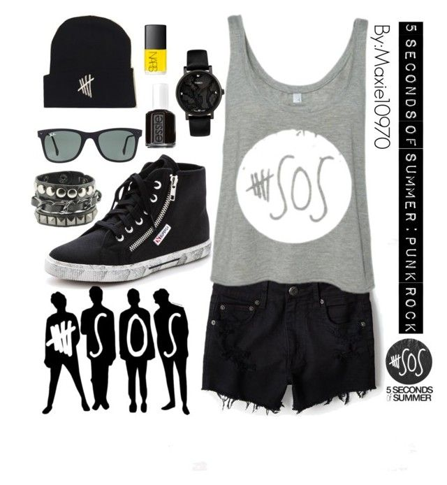 """Punk rock: here's to the 5sos fans:)"" by maxie10970 ❤ liked on Polyvore featuring American Eagle Outfitters, Superga, Ray-Ban, Essie and Timex"