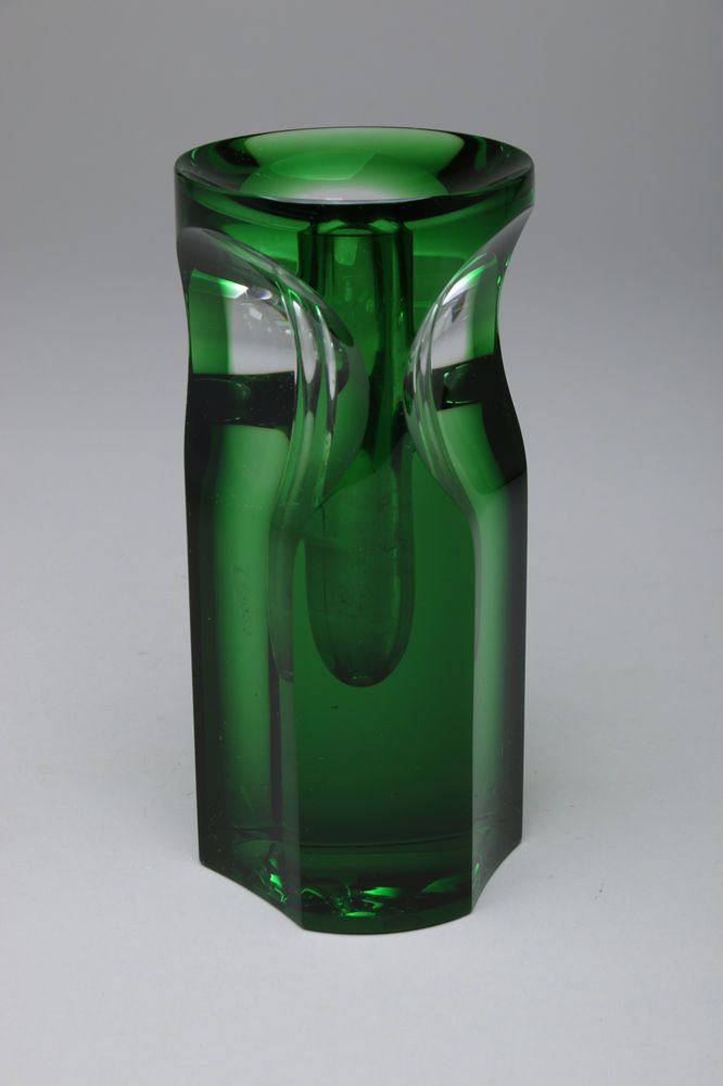 Jan Stohanzl Czech Green Art Glass Bud Vase, Artist Signed