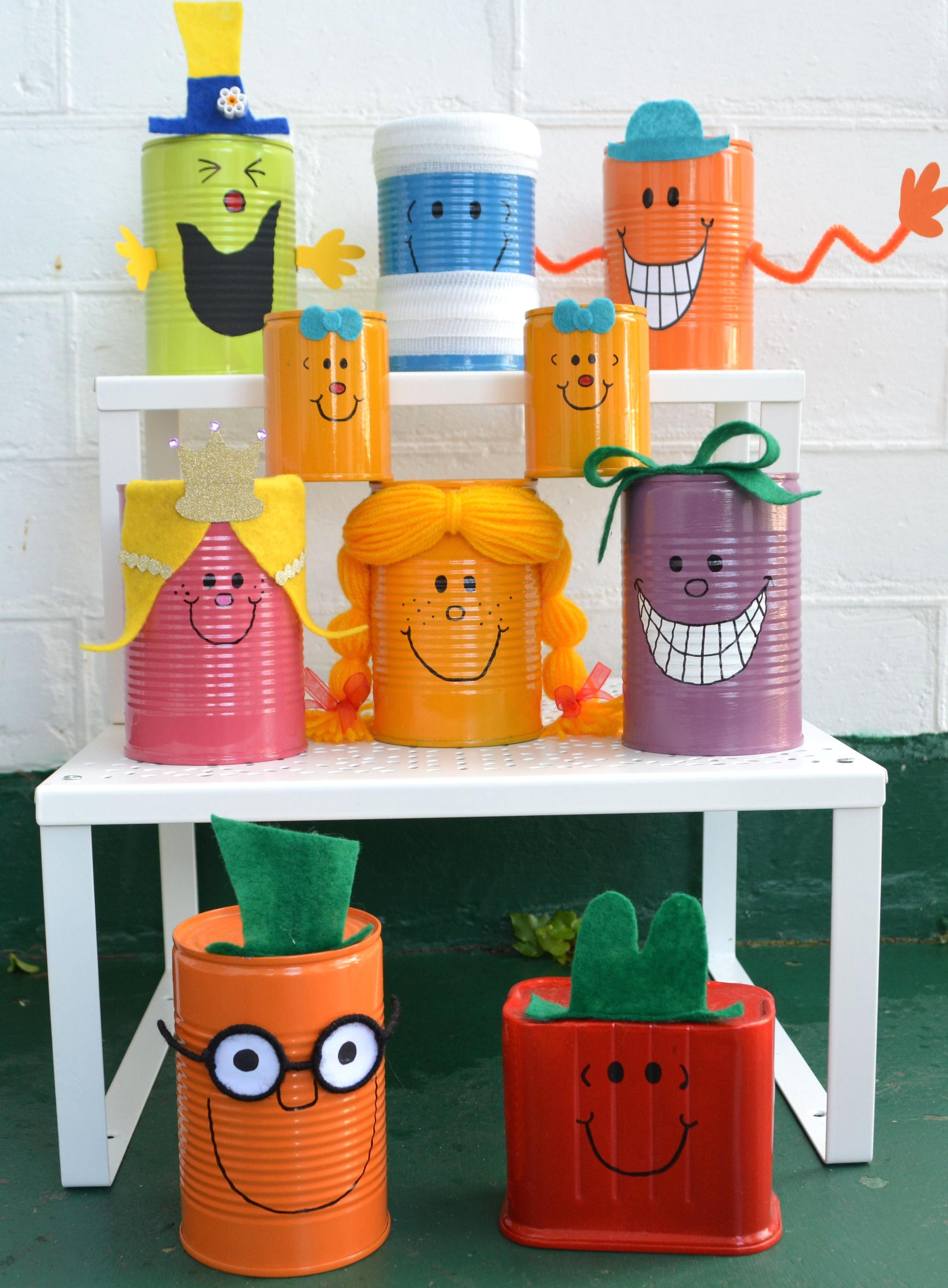 Diy Little Miss Mr Men Tin Can Decorations Made For My Daughters Little Miss Sunshine 1st Birthday Party In 2020 Mr Men Mr Men Party Tin Can Decorations