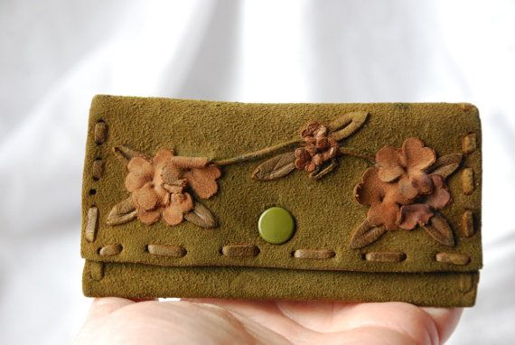 Vintage Art Deco Green and Pink Suede Leather por ScottishGoods, $29.00