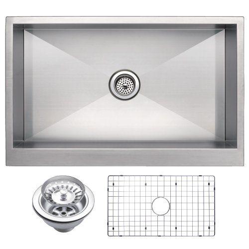 Water Creation Sssg U 3321a 33 X 21 Zero Radius Single Bowl Stainless Steel Hand Made Ap Apron Sink Kitchen Apron Front Kitchen Sink Single Bowl Kitchen Sink