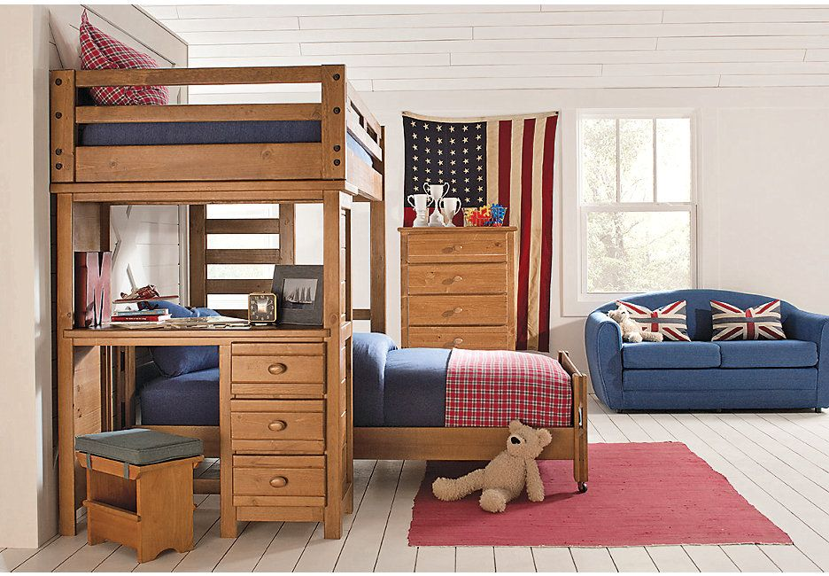 Creekside Taffy Twin Twin Student Loft Bed With Desk Beds Light Wood Bunk Bed With Desk Kids Bedroom Furniture Sets Bunk Beds