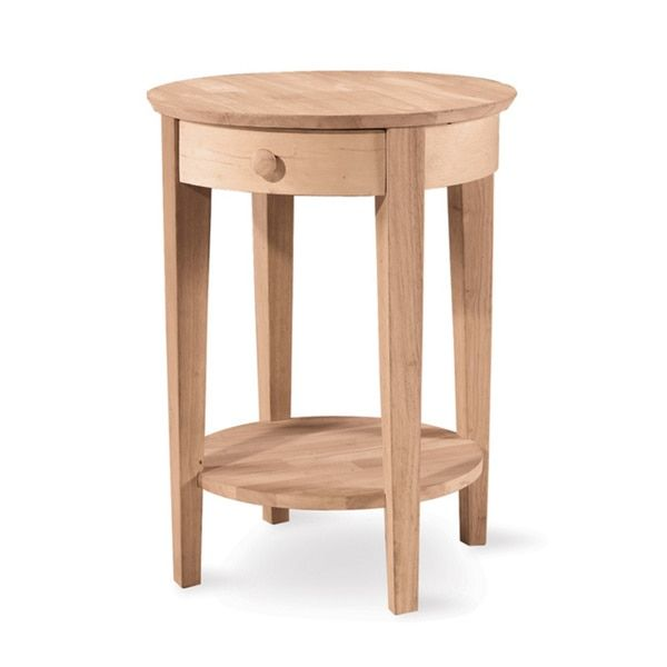 Captivating Unfinished Solid Parawood Philips Accent Table (Accent Table), Tan