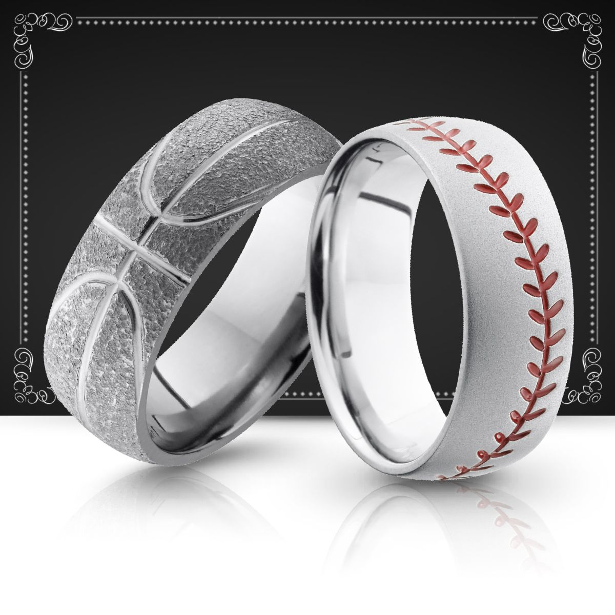 sports mens wedding bands wedding rings baseball basketball - Sports Wedding Rings