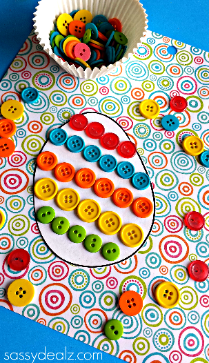 Make an adorable button Easter egg! A great craft or could incorporate math or learning colors!