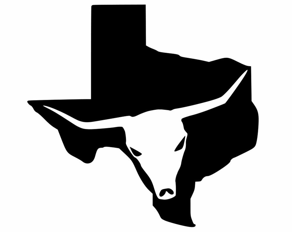 Texas Decals Lone Star State Silhouette With Longhorn