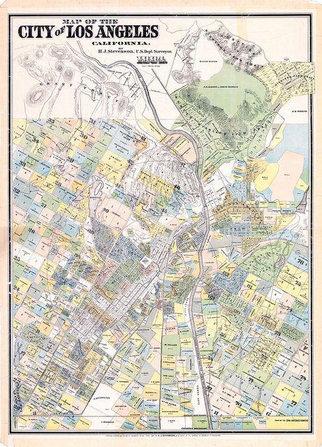 1884 H J  Stevenson survey map of los angeles in 2019