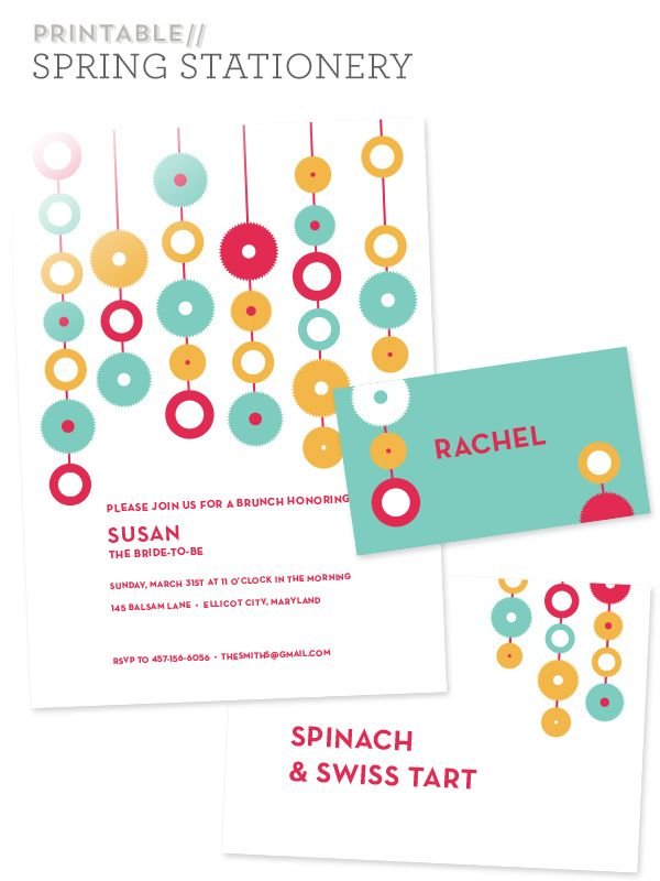Free Printable Modern Spring Party Invitations | Party invitations ...