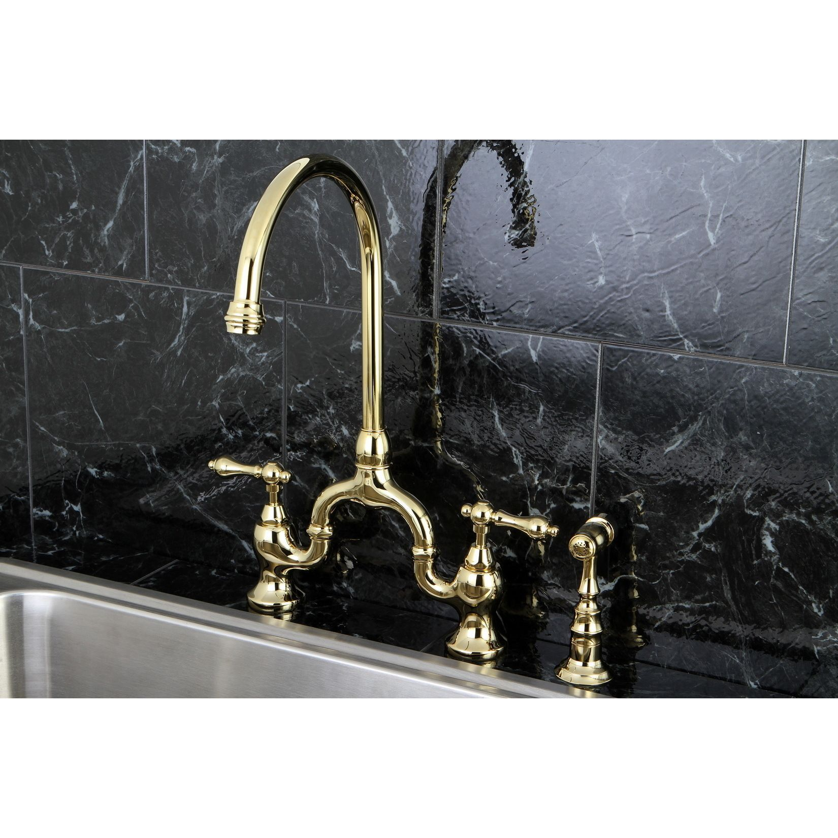 Enhance any kitchen design with this brass kitchen faucet This