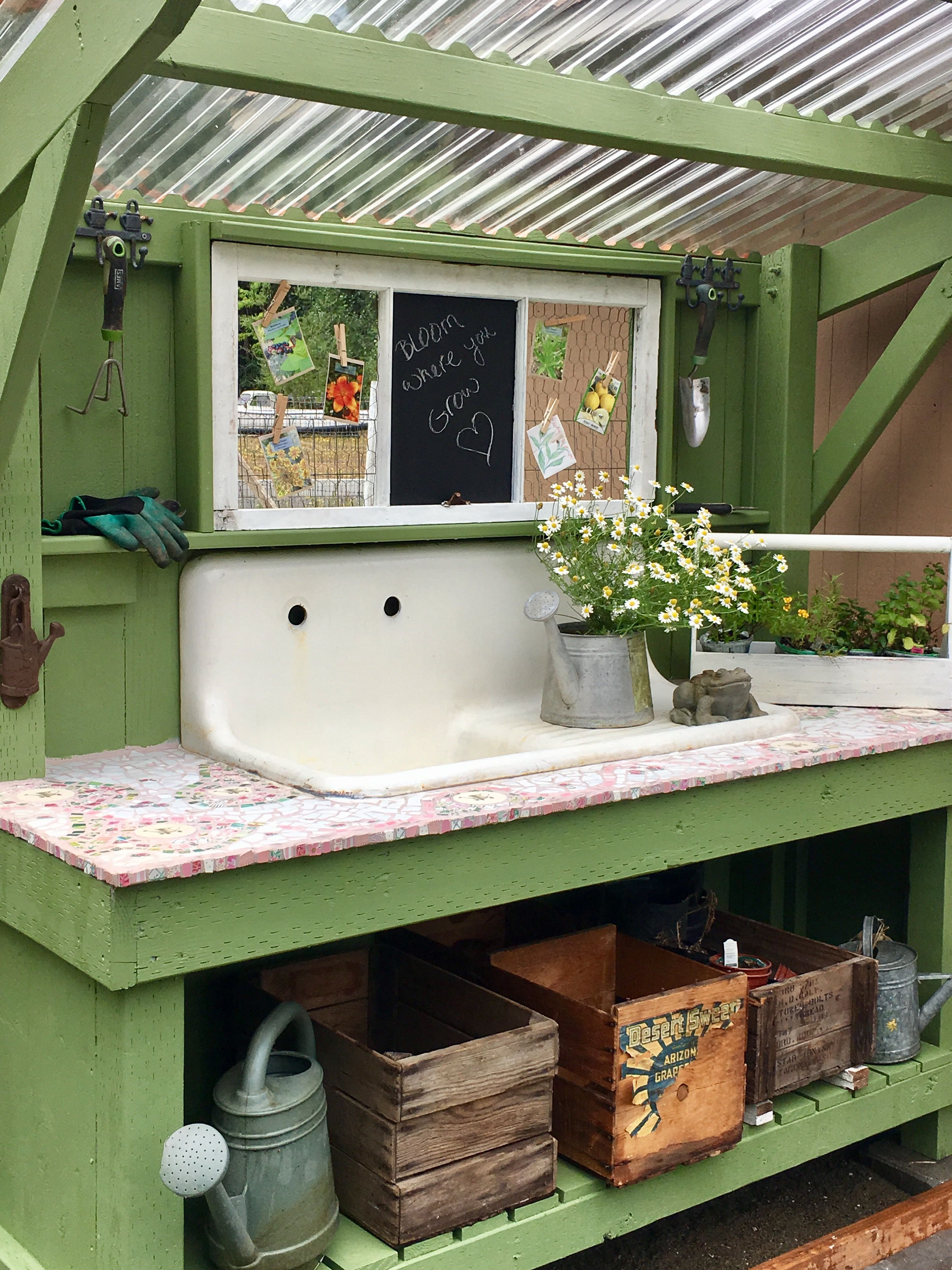 Pin By Sarah Muller On Potting Benches Garden Shed Interiors Outdoor Potting Bench Garden Sink