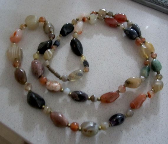 Vintage Long MultiColor Agate Necklace by JewelSpeak on Etsy, $65.00