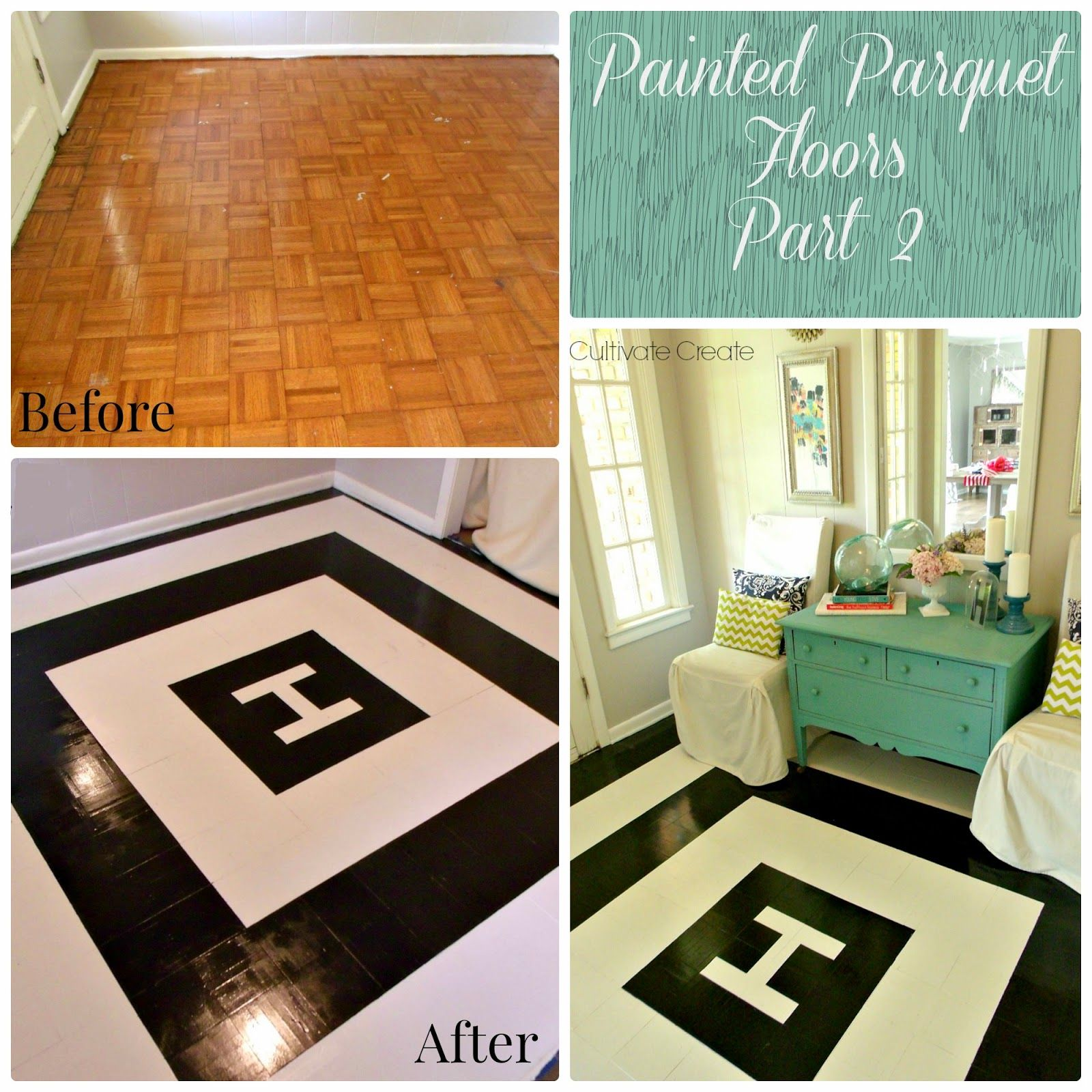 Diy painted parquet floor again not feeling the design that she but i do appreciate the how to on painting outdated parquet flooring for cheap dailygadgetfo Gallery