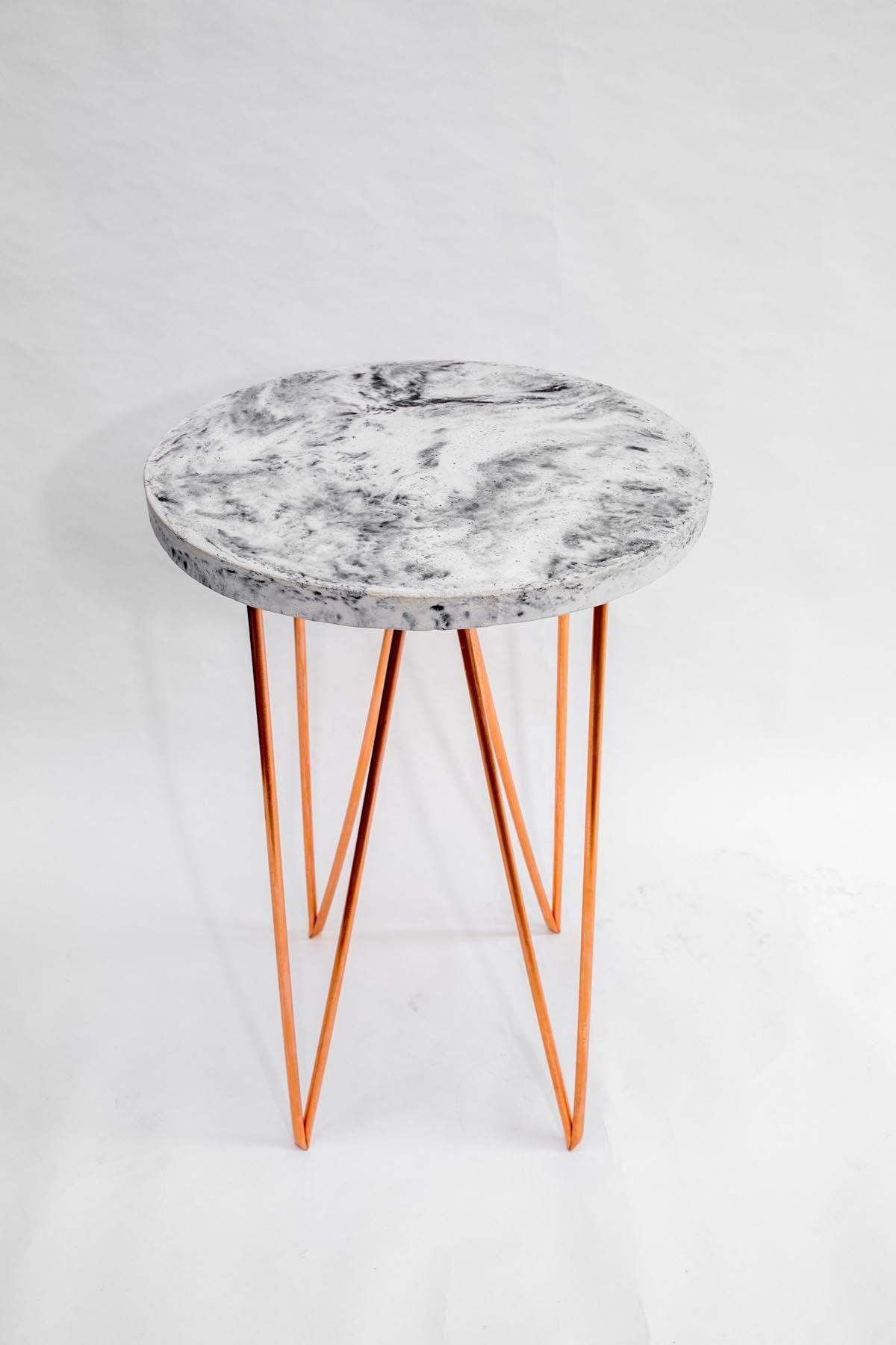 Copper Concrete Circle A Side Table Vincent Buret Minimalist